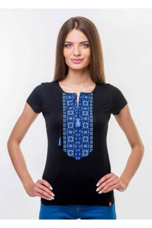 Футболка «Агапия» черная с синей вышивкой