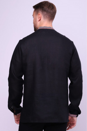 Вышиванка мужская «Карп» черного цвета