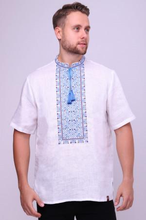 Вышиванка мужская «Добромысл» с голубой вышивкой