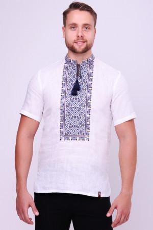 Вышиванка мужская «Добромысл» с синей вышивкой
