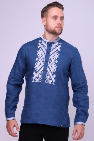 Вышиванка мужская «Гнат» синего цвета