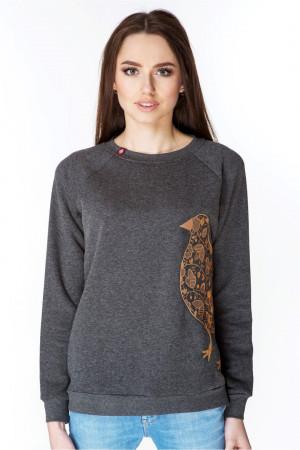 Свитшот женский «Птичка» темно-серого цвета