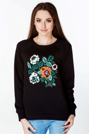 Свитшот женский «Цветок» черного цвета