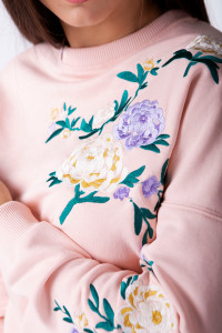 Свитшот женский «Райский сад» цвета пудры