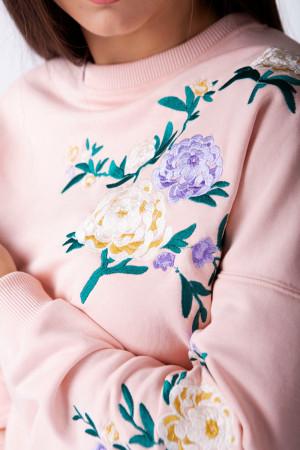Світшот жіночий «Райський сад» кольору пудри