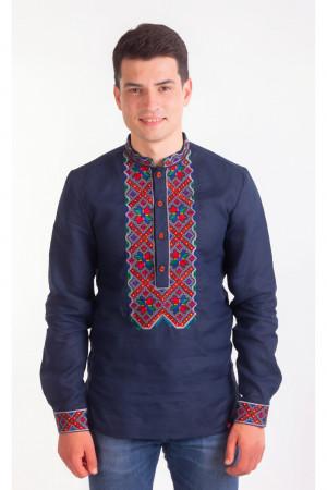 Вышиванка мужская «Фома» синего цвета