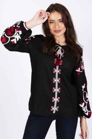 Вишиванка «Клавдія» чорна з червоно-білою вишивкою