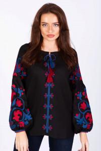 Вишиванка «Клавдія» чорна з червоно-синьою вишивкою