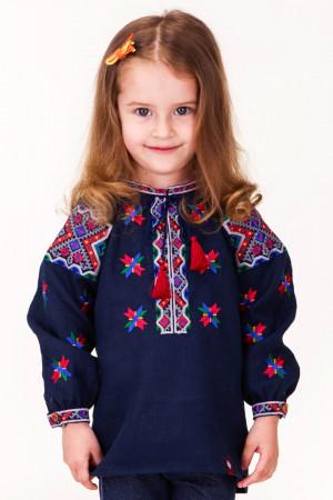 Вышиванка для девочки «Марийка» синего цвета