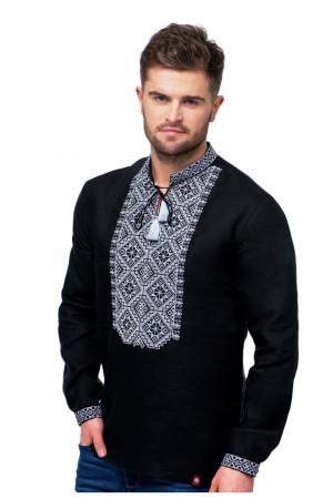 Вышиванка мужская «Ростислав» черного цвета