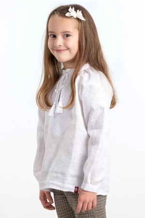 Вишиванка для дівчинки «Зіночка» білого кольору
