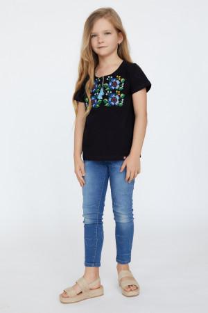 Футболка для дівчинки «Лисавета» чорного кольору з блакитною вишивкою