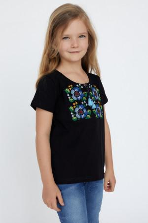 Футболка для девочки «Лисавета» черного цвета с голубой вышивкой