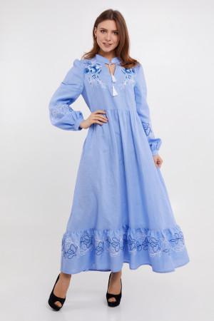 Платье «Пиона» голубого цвета