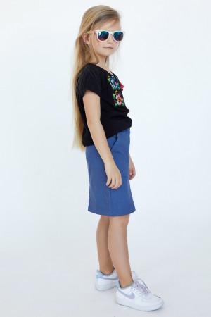 Футболка для девочки «Лисавета» черного цвета с розово-голубой вышивкой