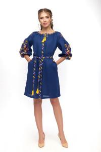 Сукня «Яскраві півники» синього кольору