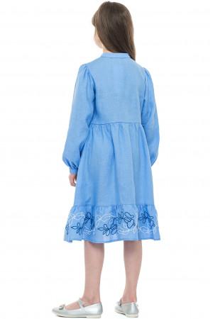 Платье для девочки «Пиона» голубого цвета