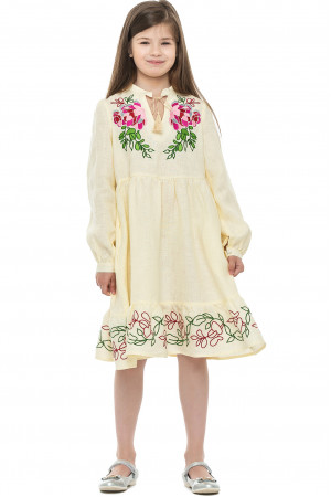 Платье для девочки «Пиона» молочного цвета