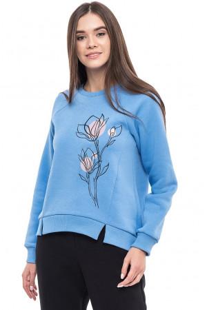 Свитшот женский «Утренние цветы» голубого цвета