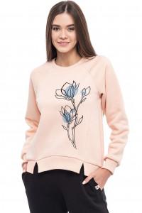 Світшот жіночий «Ранкові квіти» кольору пудри