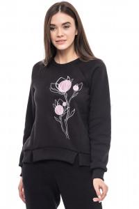 Світшот жіночий «Ранкові квіти» чорного кольору