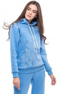 Свитшот женский «Разнотравье» голубого цвета