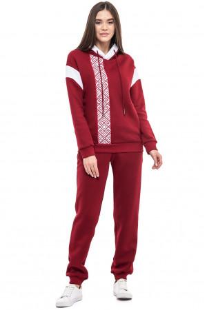 Брючный костюм «Этно-комфорт» бордового цвета