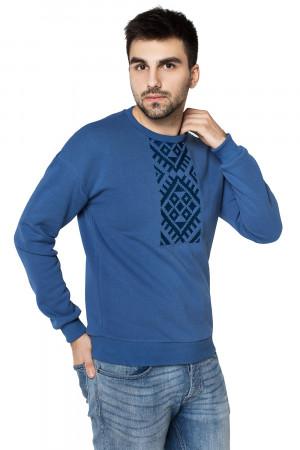 Мужской свитшот «Етно» голубого цвета