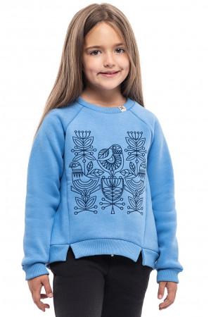 Свитшот для девочки «Птица» голубого цвета