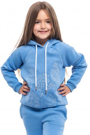 Свитшот для девочки «Разнотравье» голубого цвета