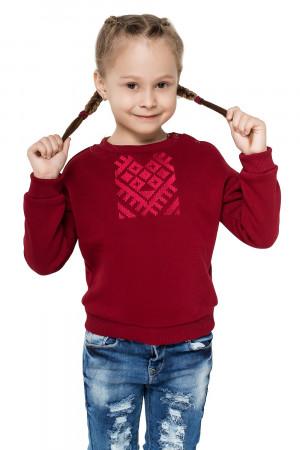 Свитшот для девочки «Этно» бордового цвета