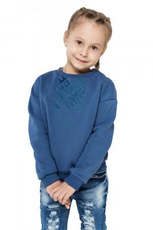 Світшот для дівчинки «Етно» блакитного кольору