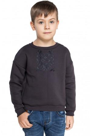 Світшот для хлопчика «Етно» з кнопками графітового кольору