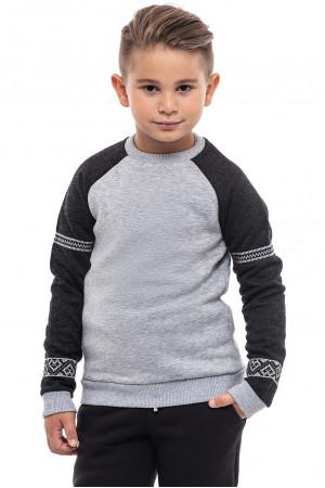 Свитшот для мальчика «Вышезор» серого цвета
