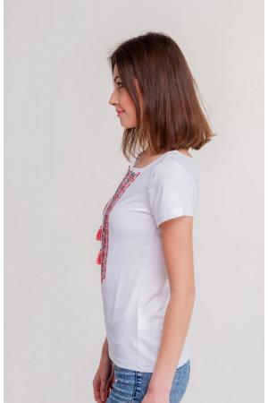 Футболка «Агапія» білого кольору з червоно-чорною вишивкою