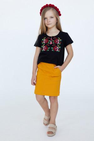 Футболка для дівчинки «Лисавета» чорного кольору з бордовою вишивкою