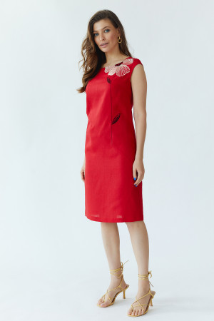 Платье «Восточный цветок» красного цвета