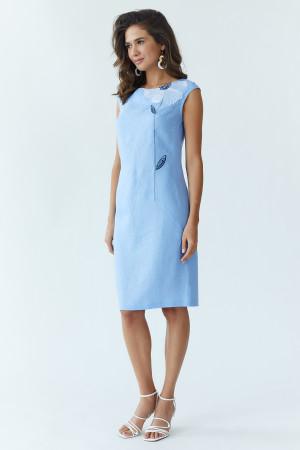 Платье «Восточный цветок» голубого цвета