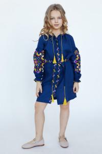 Платье для девочки «Яркие петушки» синего цвета