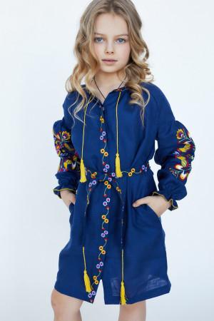 Сукня для дівчинки «Яскраві півники» синього кольору