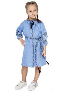 Платье для девочки «Иванна» голубого цвета с черно-белой вышивкой