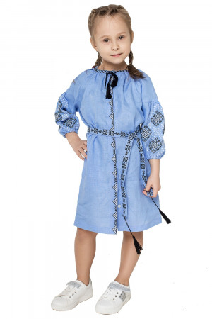 Сукня для дівчинки «Іванна» блакитного кольору з чорно-білою вишивкою