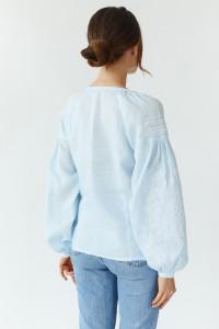 Вишита блуза «Бела» небесно-блакитного кольору