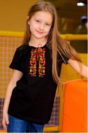 Футболка для дівчинки «Ївга» чорного кольору з помаранчевою вишивкою