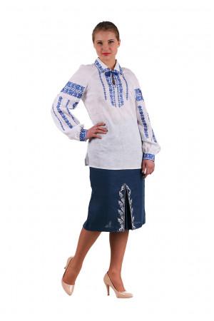 Вышиванка «Любослава» с голубым орнаментом