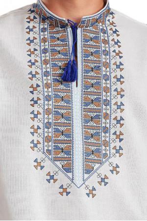 Вышиванка «Гетман» с голубым орнаментом