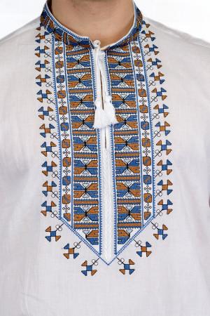 Вышиванка «Гетман» с голубым орнаментом КР