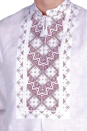 Вишиванка «Творимир» з бордовим орнаментом
