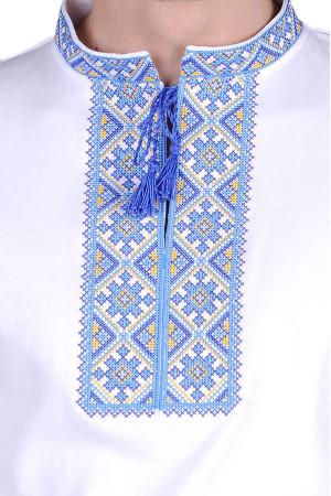 Футболка «Милодар» белая с синим орнаментом