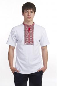 Футболка «Милодар» белая с красным орнаментом